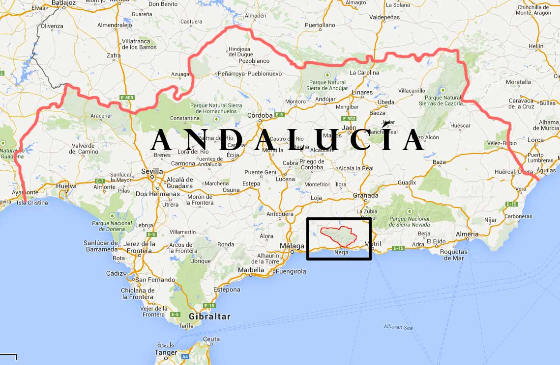 AndalucianWalkscom Guided Countryside Walks And Mountain Hikes - Map of andalusia